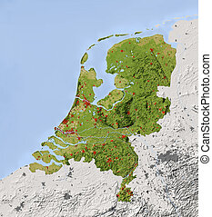 Netherlands. Shaded relief map. Surrounding territory greyed out. Colored according to vegetation. Includes clip path for the state area. Projection: Mercator Extents: 2.6/7.8/50.5/54.0