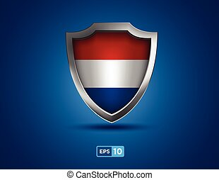 Netherlands shield on the blue background