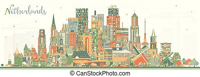 Netherlands Skyline with Color Buildings.