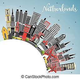 Netherlands Skyline with Gray Buildings, Blue Sky and Copy Space.