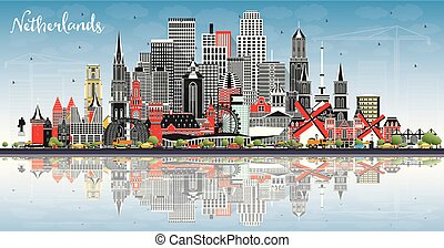 Netherlands Skyline with Gray Buildings, Blue Sky and Reflections.