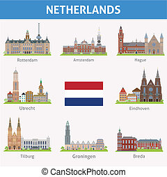 Netherlands. Symbols of cities. Vector set