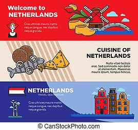 Netherlands travel destination promo posters set with sample...