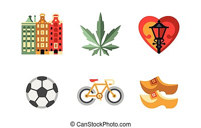 Netherlands travel icons set, popular attractions of the Holland country vector Illustration on a white background