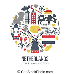 Netherlands travelling sketch for tourists of traditional symbols in round shape isolated on white. Collection of colorful signs showing national spirit of country, traditions and everyday lifestyle