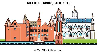 Netherlands, Utrecht. City skyline, architecture, buildings, streets, silhouette, landscape, panorama, landmarks. Editable strokes. Flat design line vector illustration concept. Isolated icons