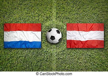 Netherlands vs. Austria flags on soccer field - Netherlands ...