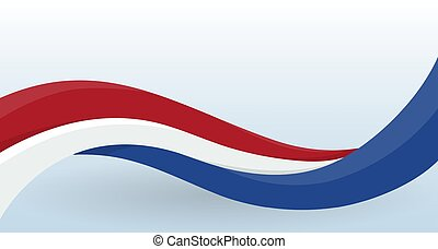 Netherlands Waving National flag. Modern unusual shape. Design template for decoration of flyer and card, poster, banner and logo. Isolated vector illustration.