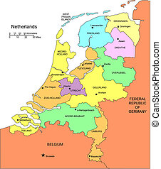 Netherlands with Administrative Districts and Surrounding...