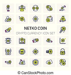 NETKO Coin Crypto Currency icons set