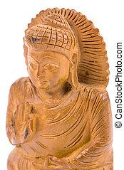 Netsuke of Buddha. Isolated on white background.