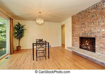 nett, esszimmer, mit, hartholzboden, und, mauerstein, fliese, fireplace.