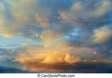 nett, farben, wolkenhimmel, in, sonnenuntergang