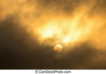 nett, wolkenhimmel, in, a, sonnenuntergang, light.