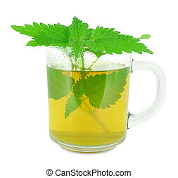 Nettle tea in a glass on a white background