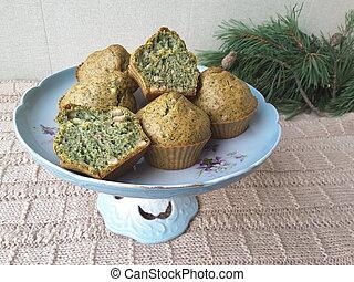 Nettles lemon muffins - Nettles lemon peanut muffins,...