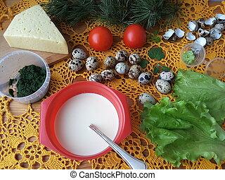 Nettles omelette cooking quail eggs - Nettles omelette with...
