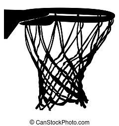 netto, isoleret, basketball