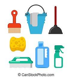 nettoyage, éponge, seau, accessory., brosse, plunger., floorcloth., nettoyeur, sprayer., outils, lavage