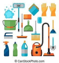 nettoyage, être, conceptions, utilisé, ménage, icônes, set., sites, bannières, toile, image, boîte
