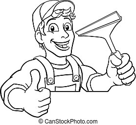 nettoyage, dessin animé, laver, nettoyeur, squeegee, fenêtre voiture