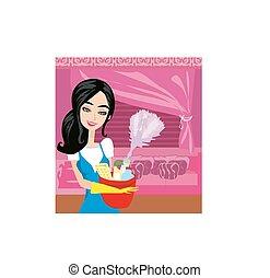 nettoyage, femme foyer