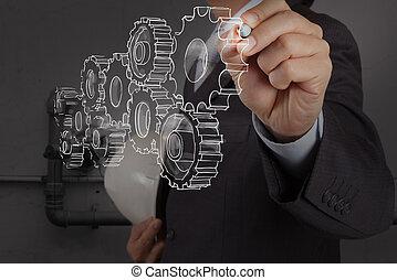 nettoyage, gaspillage, dessin, facilité, engrenage, ingénieur, tuyauterie, industriel, concept, eau