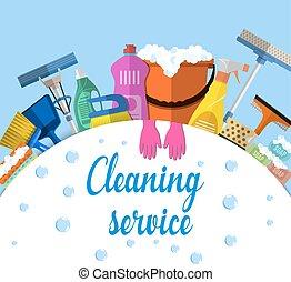 nettoyage, illustration, service, plat
