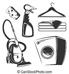 nettoyage, objets, lavage, ménage
