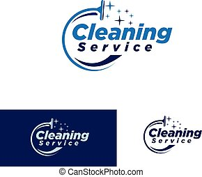 nettoyage, service, simple, logotype