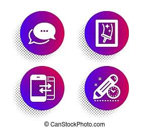 nettoyage, téléphone, icônes, communication, date limite, fenêtre, signe., vecteur, points, message, projet, set.