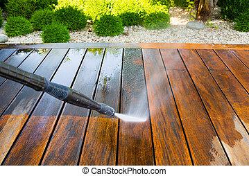 nettoyage, terrasse, rondelle, pression
