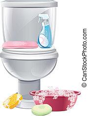 nettoyage, toilettes