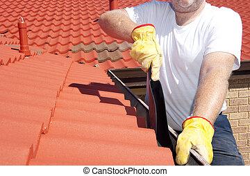 nettoyage, toit, saisonnier, rouges, gouttière