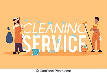 nettoyage, uniforme, femme, service, homme
