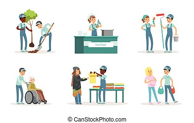 nettoyage, volontaires, murs, planter, jeune, portion, vecteur, aînés, peinture, gens, déchets, arbres, tri, illustration, collection