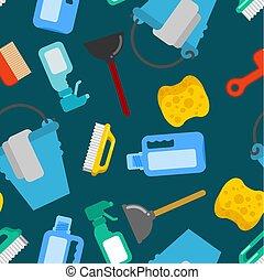 nettoyeur, arrière-plan., seau, floorcloth., pattern., accessoires, seamless, éponge, plunger., brosse, pulvérisateur, nettoyage