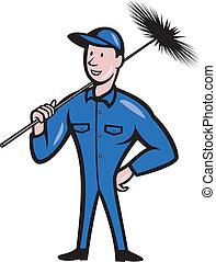 nettoyeur, balayeur, ouvrier, dessin animé, cheminée