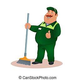 nettoyeur, bureau, gesture., sourire, janitorial, rigolote, service, caractère, uniforme, complet, heureux, plat, coloré, lavette, graisse, dessin animé, broom., ok, illustration., cleaning., vecteur, vert, concierge, ou