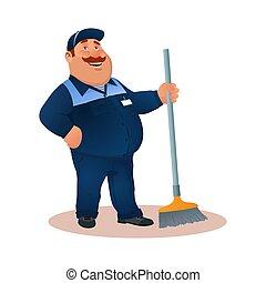 nettoyeur, bureau, sourire, janitorial, bleu, rigolote, service, caractère, uniforme, complet, heureux, plat, coloré, graisse, dessin animé, broom., illustration., cleaning., mop., vecteur, concierge, ou