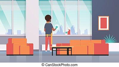 nettoyeur, concept, chiffon, habiter moderne, appartement, américain, ménage, intérieur, plat, entiers, pulvérisation, nettoyage, horizontal, arrière, homme, salle, fenetres, longueur, gants, tablier, africaine, type, vue