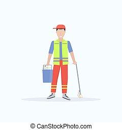 nettoyeur, concept, tenue, service, plat, essuyer seau, uniforme, longueur, entiers, nettoyage, fond, fournitures, blanc mâle, concierge, homme