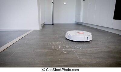 nettoyeur, coup, vide, haut, robot, nettoyage, miettes,...
