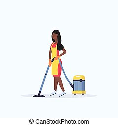 nettoyeur, femme, femme, service, tablier, vide, américain, plat, longueur, concept, entiers, nettoyage, fond, africaine, utilisation, blanc, plancher, concierge, soin