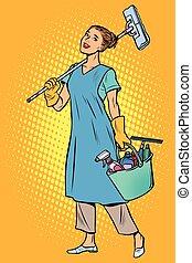 nettoyeur, femme, profession
