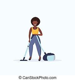 nettoyeur, femme, service, plancher, utilisation, africaine, ménage, femme foyer, longueur, concept, plat, nettoyage, fond, vide, américain, entiers, blanc, soin