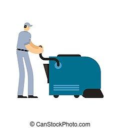 nettoyeur, industriel, service, ouvrier, cleaner., vide, swabber, man.