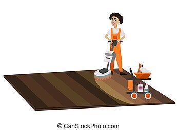 nettoyeur, lavage, plancher, ouvrier, surface, vide