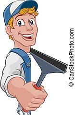 nettoyeur, laver, voiture, squeegee, fenêtre, dessin animé,...