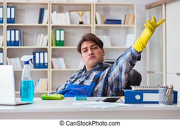 nettoyeur, mâle, bureau, fonctionnement